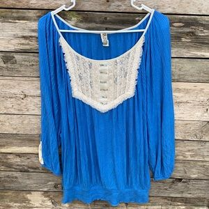 Free People   Viscose Peasant Lace Sequin Blouse